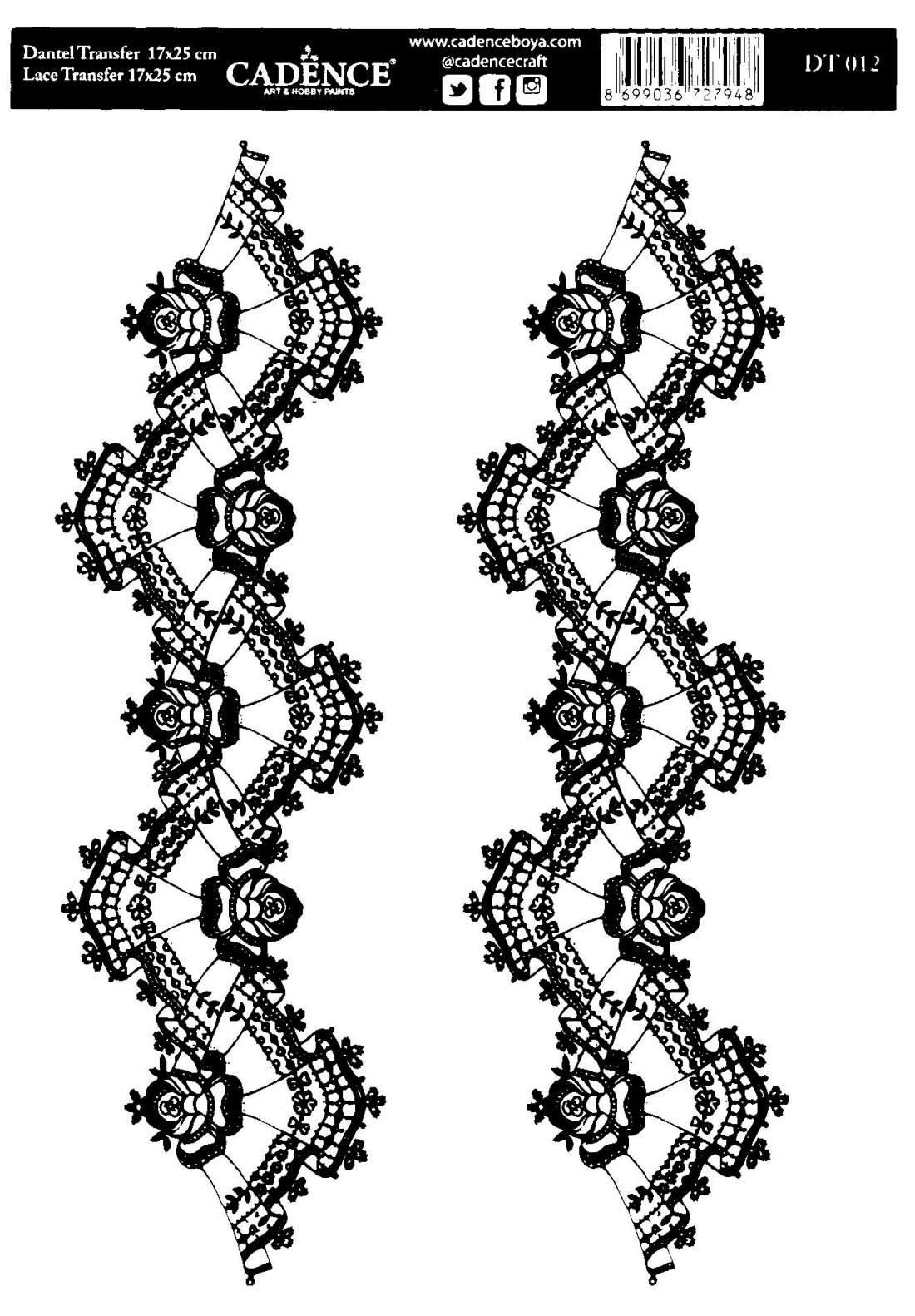 Csipketranszfer - Fekete - DT012
