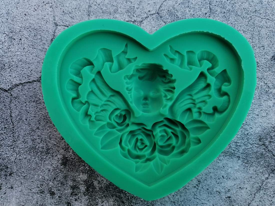 Szilikon forma - virágok angyallal